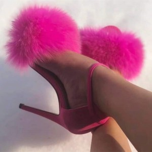 Hot Pink Suede Ankle Strap Heels Stiletto Heel Fluffy Sandals
