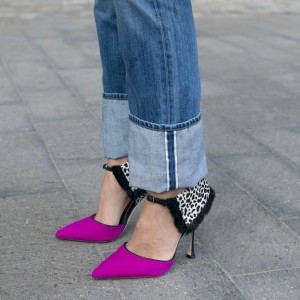 Women's Pink Ankle Strap Sandals Pointy Toe Stiletto Heels Pumps Shoes