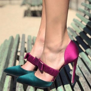 Fuchisa and Dark Green Satin Mary Jane Heels Bow Stiletto Heel Pumps