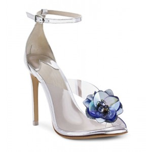 Custom Made Silver Clear Ankle Strap Sandals