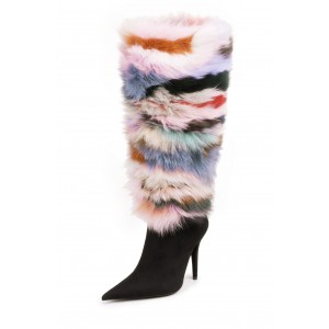 Black Multi color Fur Boots Pointy Toe Stiletto Heel Knee-high Boots
