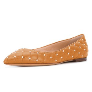 Ginger Quilted Studs Shoes Pointy Toe Comfortable Flats