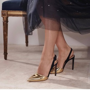 Gold and Black Slingback Heels Pumps