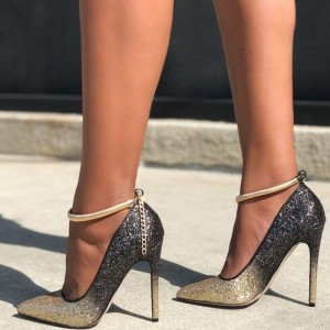 Gold and Grey Glitter Ankle Strap Heels Pointy Toe Pumps