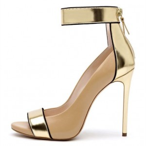 Gold and Nude Peep Toe Heels Ankle Strap Pumps