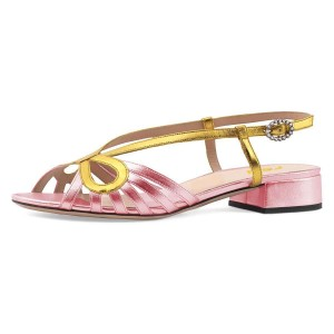 Gold and Pink Slingback Low Heel Chunky Heel Sandals