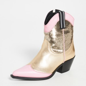 Gold and Pink Western Boots Sequined Ankle Boots with Zipper