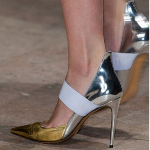 Gold and Silver Pointy Toe Mary Jane Pumps Stiletto Heels Office Pumps