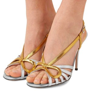 Gold and Silver Slingback Heels Sandals