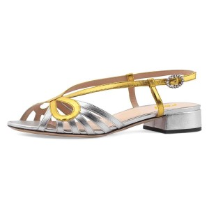 Gold and Silver Slingback Low Heel Chunky Heel Sandals