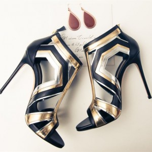 Gold and Silver Stiletto Heels Open Toe Cutout Sandals