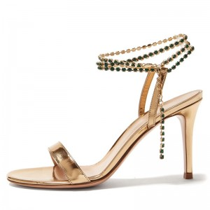Gold Ankle Strap Sandals Chains Stiletto Heel Sandals