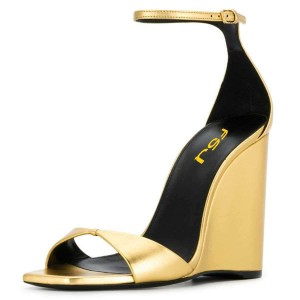 Gold Ankle Strap Wedge Sandals