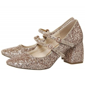 Gold Block Heel Glitter Mary Jane Shoes