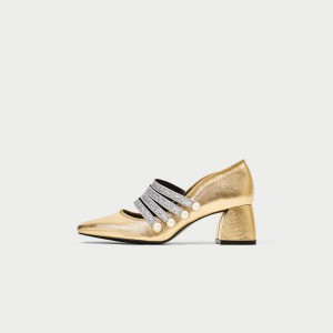 Gold Block Heel Silver Glitter Straps Mary Jane Shoes