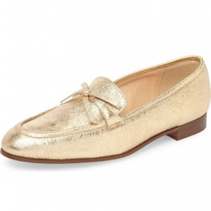 Gold Bow Elephant Print Loafers for Women Round Toe Comfortable Flats