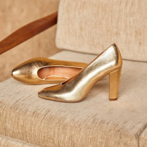 Gold Chunky Heels Pumps Almond Toe Pumps