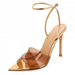 Gold Clear Ankle Strap heels Stiletto Heel Sandals