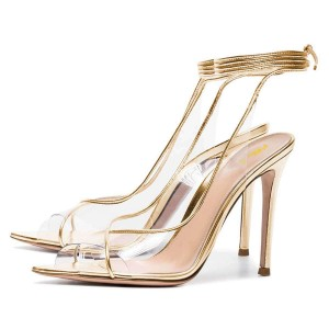 Gold Clear Heels Ankle Strap Stiletto Heel Sandals
