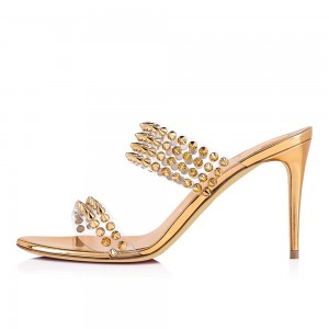 Gold Clear PVC Rivets Mule Heels
