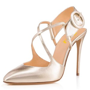 Gold Cross Over Slingback Heels Buckle Pumps
