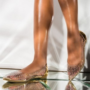 Gold Rhinestone Pointy Toe Flats Clear Shoes