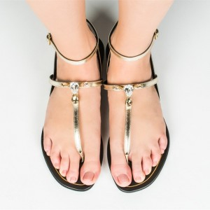 Gold Thong Sandals Ankle Strap Flats Rhinestone Beach Sandals