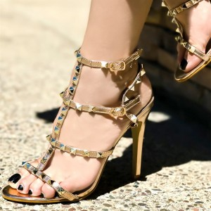 Gold Gladiator Heel Stiletto Heel Sandals with Studs