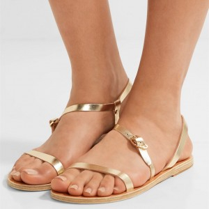 Gold Gladiator Sandals Open Toe Flats Beach Summer Sandals