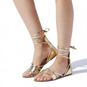 Gold Gladiator Sandals Open Toe Flats Strappy Sandals