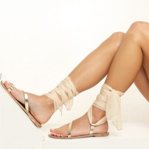 Gold Gladiator Sandals Open Toe White Scarves Strappy Sandals