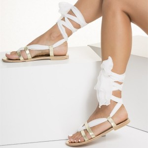 Gold Gladiator Sandals White Scarves Strappy Summer Sandals