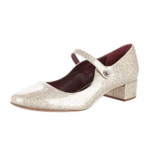 Champagne Glitter Round Toe Block Heels Mary Jane Shoes for Women