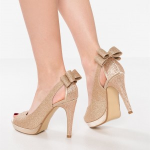 Gold Glitter Shoes Cone Heel Peep Toe Platform Pumps with Bow