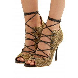 Gold Glitter Shoes Lace Up Strappy Stiletto Heel Sandals