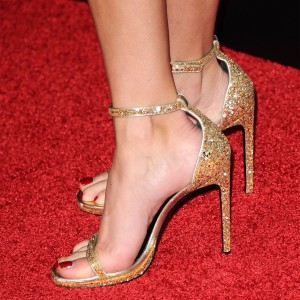 Gold Glitter Shoes Stiletto Heel Ankle Strap Sandals