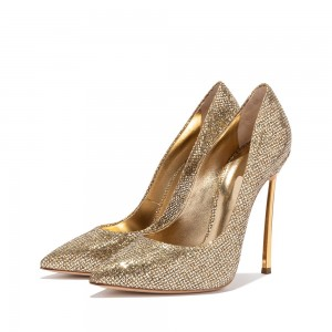 Gold Glitter Shoes Stiletto Heel Pumps for Women