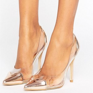 Champagne Heart Pointy Toe Clear Pumps Transparent Stiletto Heel Shoes