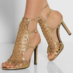 Gold Heels Hollow out Cage Gladiator Sandals Open Toe Slingback Stiletto Heels For Prom