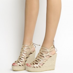 Champagne Hollow out Espadrille Wedge Sandals Sparkly Platform Sandals