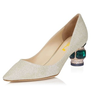 Gold  Leather Crystal Chunky Heels Pumps by FSJ