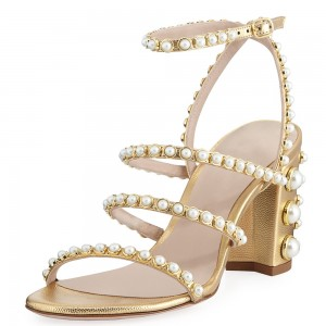 Gold Litchi Grain Pearl Gladiator Heels Sandals