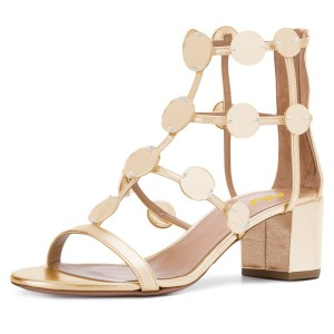Gold Metallic Block Heel Gladiator Heels Sandals