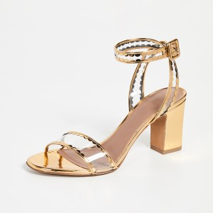 Gold Metallic Clear PVC Chunky Heel Ankle Strap Sandals