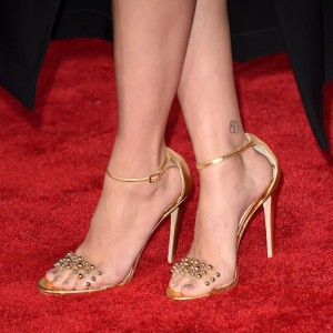 Gold Metallic Clear PVC Studs Stiletto Heel Ankle Strap Sandals