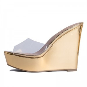 Gold Metallic Clear Wedge Heels Mule Sandals