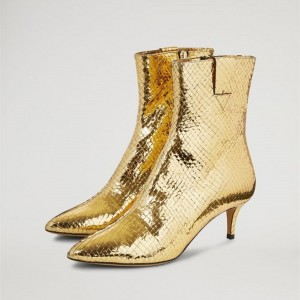 Gold Textured Metallic Fashion Boots Kitten Heel Ankle Boots