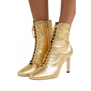 Gold Metallic Lace Up Boots Chunky Heel Ankle Boots