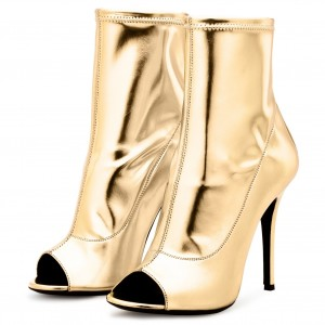 Gold Metallic Peep Toe Booties Stiletto Heels Ankle Boots