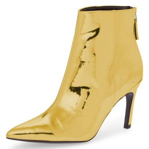Gold Metallic Pointy Fashion Boots Stiletto Heel Ankle Boots